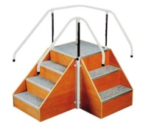 Corner steps with adjustable handrails